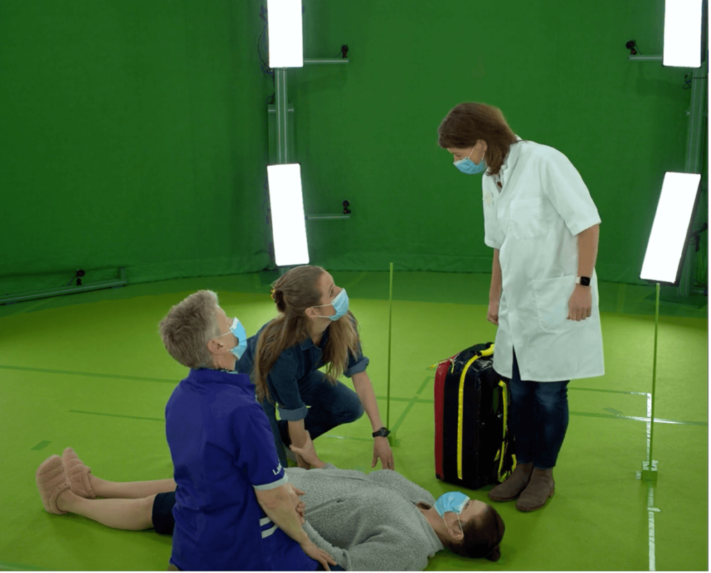 An acted emergency scenario in the 4DR volumetric capturing studios